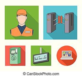 teia, jogo, apartamento, collection., mecanismo, ícones, style., passagem, outro, público, transporte, ícone