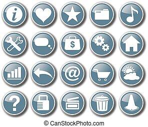 teia, jogo, botão, vetorial, ícone internet