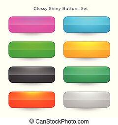 teia, jogo, botões, cores, oito, brilhante