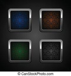 teia, jogo, botões, cromo, cor, em branco