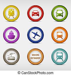 teia, jogo, colorido, ícones, redondo, transporte