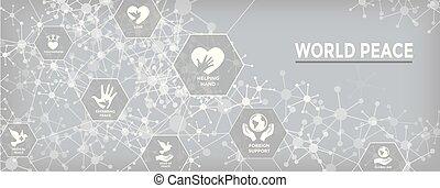 teia, jogo, coração, bandeira, globo, paz, mão, cabeçalho, mundo, pomba, ícone