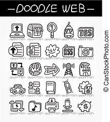 teia, jogo, doodle, ícone