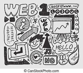 teia, jogo, doodle, elemento, ícone