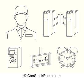 teia, jogo, esboço, ícones, collection., mecanismo, style., passagem, outro, público, transporte, ícone