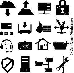 teia, jogo, hosting, ícones
