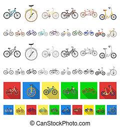 teia, jogo, illustration., ícones, símbolo, cobrança, bitmap, bicycles, vário, design., tipo, caricatura, transporte, estoque