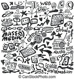 teia, jogo, mídia, -, massa, doodles