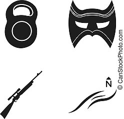 teia, jogo, norte, ícones, collection., peso, máscara, outro, pretas, rifle, style., vento, ícone