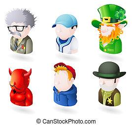 teia, jogo, pessoas, avatar, ícone