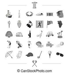 teia, jogo, style.greece, golfe, viaje ícones, história, desporto, jogo, outro, pretas, collection., ícone