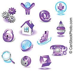 teia, jogo, violeta, ícones