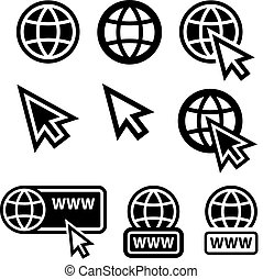 teia, largo, globo, ícones, cursor, mundo
