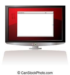 teia, lcd, monitor, vermelho, browser