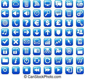 teia, &, mídia, botões, internet, novo