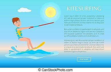 teia, menino, cartaz, kitesurfing, kitesurfer, sorrindo