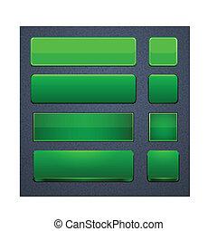 teia, modernos, buttons., verde, high-detailed