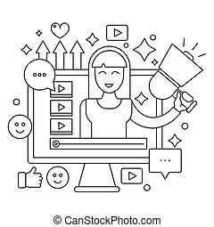 teia, mulher, computador, esboço, pessoal, blogger, concept., blogger., transmissão, apoplexia, vetorial, vídeo, magra, femininas, tela, linha, blogging, canal, illustration.