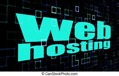 teia, palavra, hosting, fundo, digital