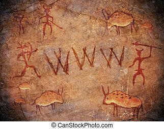 teia, pré-histórico, largo, caverna, pintura, mundo