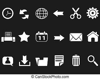 teia, pretas, toolbar, fundo, ícones