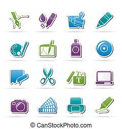 teia, projeto gráfico, ícones