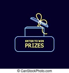 teia, promo, ganhe, néon, button., illustration:, prêmios, vetorial, entrar