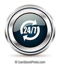 teia, pushbutton., cromo, button., metálico, vetorial, icon., borda, prata, redondo