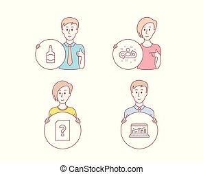 teia, recrutamento, desconhecidas, sinal., icons., analytics, vetorial, arquivo, garrafa, uísque