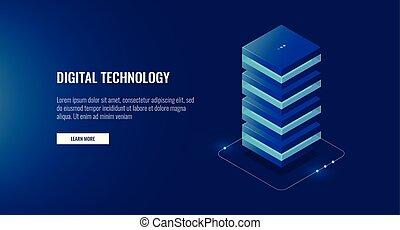 teia, sala, isometric, processando, hosting, servidor, base dados, ícone, dados, unidade