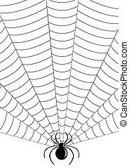 teia, silueta, aranha