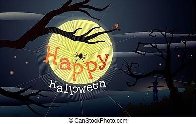 teia, silueta, assustador, dia das bruxas, árvore, aranha, morto, luar, girar, fundo, sob, spooky, espantalho, feliz