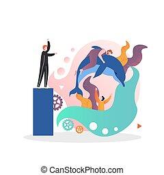 teia, site web, vetorial, página, dolphinarium, conceito, bandeira
