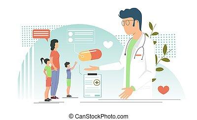 teia, site web, vetorial, pediatra, página, conceito, bandeira