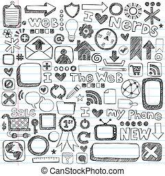 teia, sketchy, ícones computador, doodles