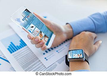 teia, smartphone, cima, mulher, notícia, fim, página