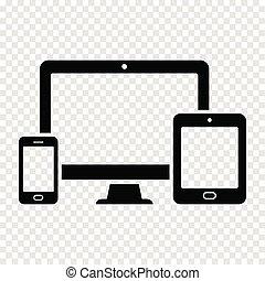 teia, tabuleta, -, tela, computador, desenho, telefone, responsivo, esperto, ícone