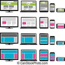 teia, tabuleta, tela, laptop, telefone, responsivo, design.