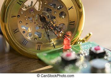 teia, tecnologia, e, tempo