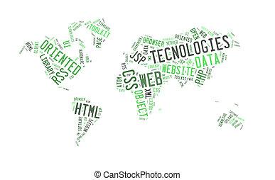 teia, tecnologia, palavra, com, mapa mundial, forma