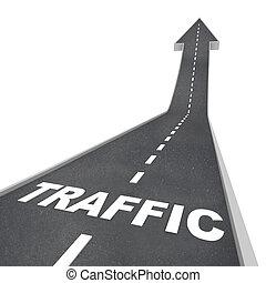 teia, transporte, cima, tráfego, seta, levantar, estrada