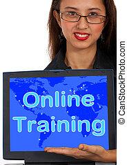 teia, treinamento, mostrando, computador, aprendizagem, online, mensagem
