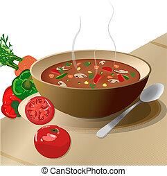 teia, vegetal, sopa quente, pl, tigela