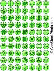 teia, verde, ícones