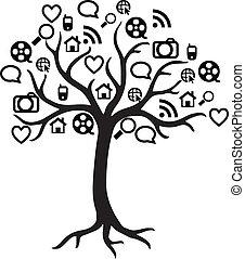 teia, vetorial, árvore, ícone