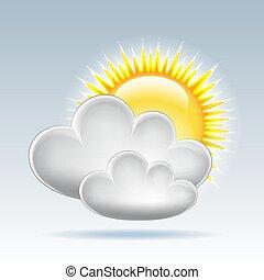 teia, vetorial, nuvens, sol, tempo, icon.
