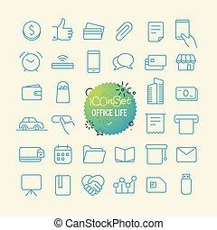 teia, vida, esboço, escritório, móvel, set., icons., linha ...