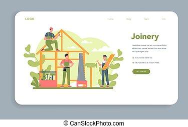 teia, woodworker, carpinteiro, conceito, aterragem, page., ou, bandeira