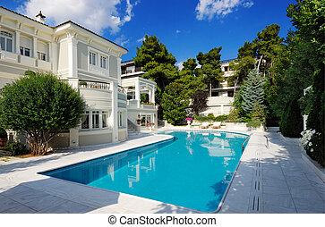 teich, luxus, schwimmender, landhaus