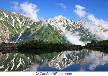 teich, reflexion, berg